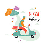Delivery pizza by courier on the moped.