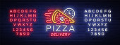 Delivery pizza neon sign. Logo in neon style, light banner, luminous symbol, bright night neon advertising food delivery for cafe, pizzerias, dining. Vector illustration. Editing text neon sign