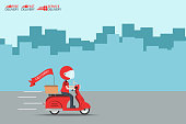 Delivery Ride Motorcycle Service, Order Worldwide Shipping, Fast and Free Transport, food express, vector illustration cartoon