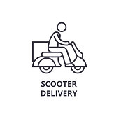 delivery scooter thin line icon, sign, symbol, illustation, linear concept, vector