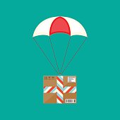 Delivery service, air shipping. Parachute with box