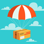 Delivery service concept. Flat design colored vector illustration of package with parachute. Fast Delivery Service, Parcels Delivery, Free shipping web banners template