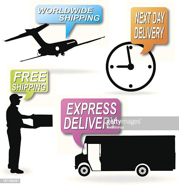delivery service, free shipping, next day - next stock illustrations