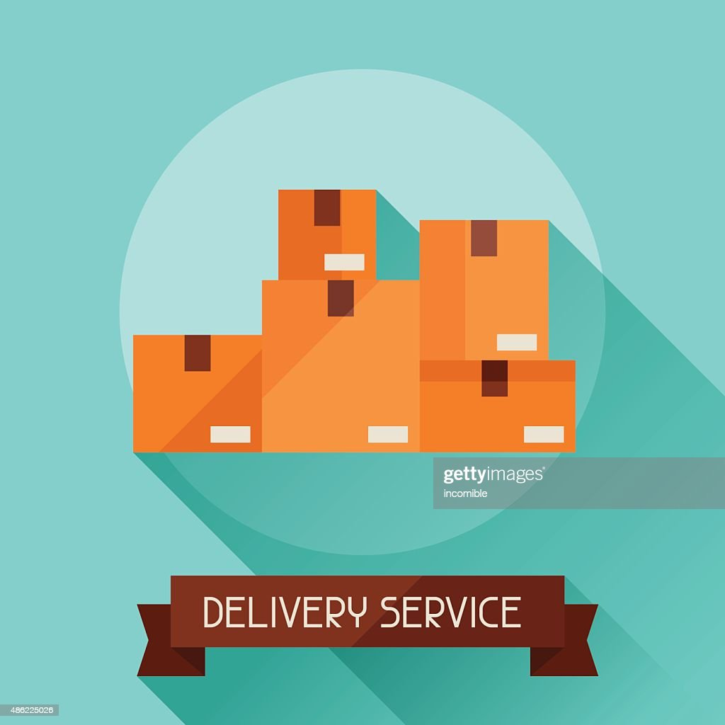 Delivery service icon on background in flat design style