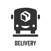 Delivery service icon with fast cargo van and package box glyph symbols.