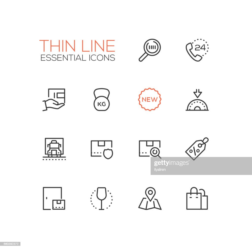 Delivery Service - modern vector single thin line icons set