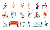 Delivery service set, couriers delivering packages, letters, furniture to clients vector Illustrations on a white background