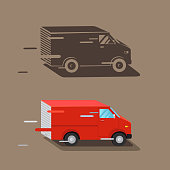 Delivery service van. Fast delivery van. Delivery car icon, silhouette