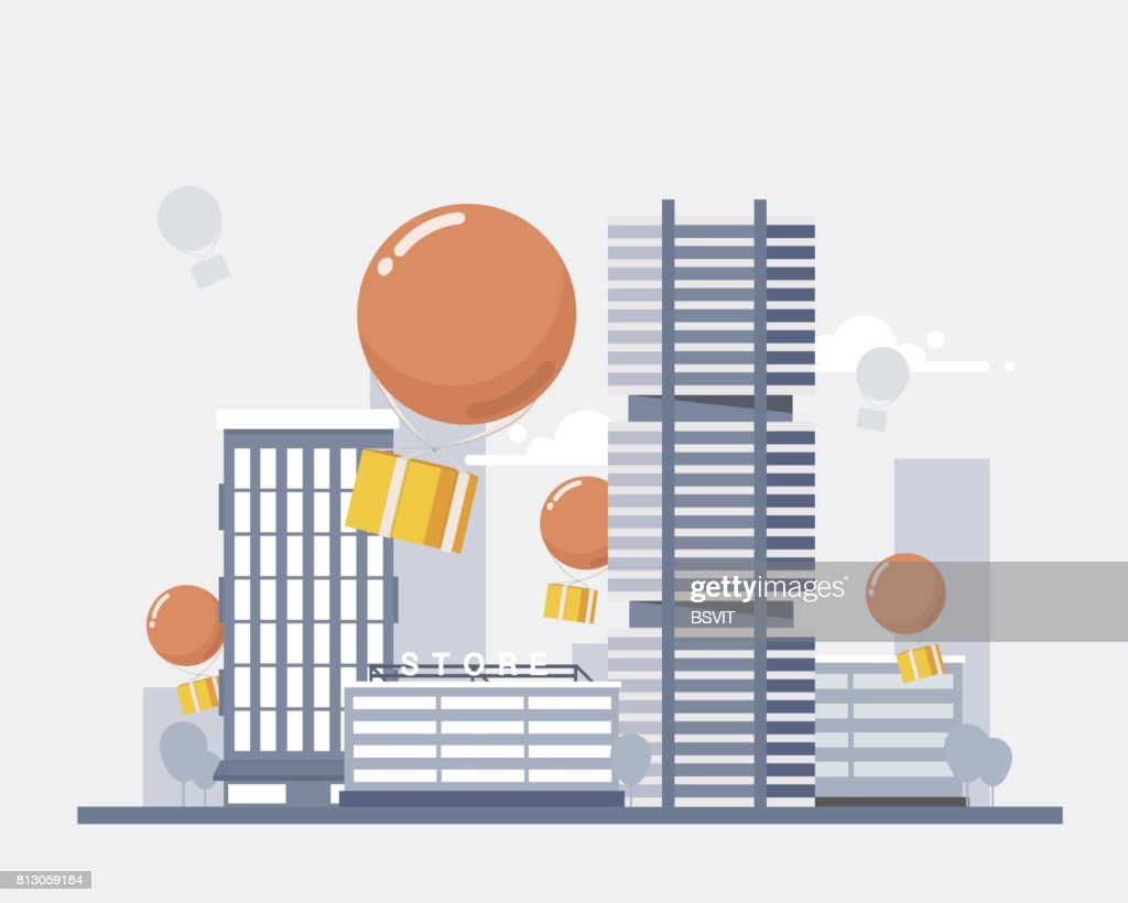 Delivery Services and E-Commerce. Packages fly on balloons, descend on the city. Flat elements isolated vector illustration