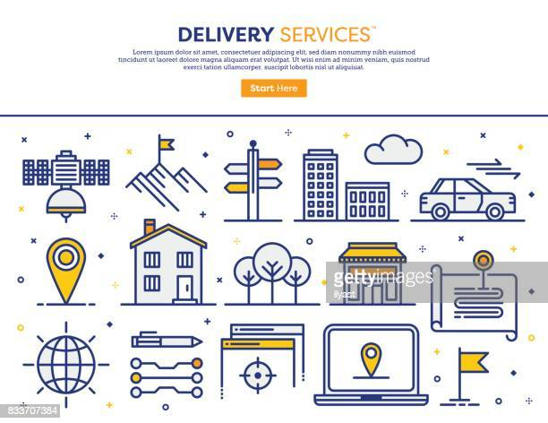 delivery services concept - human settlement stock illustrations