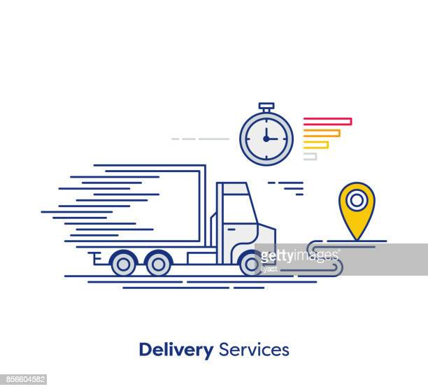 delivery services concept - thoroughfare stock illustrations, clip art, cartoons, & icons