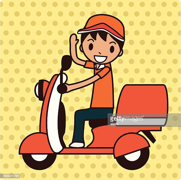delivery services - moped stock illustrations, clip art, cartoons, & icons