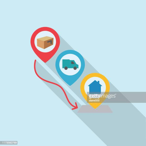 delivery steps logistics delivery and transport long shadow flat design icon - returning merchandise stock illustrations