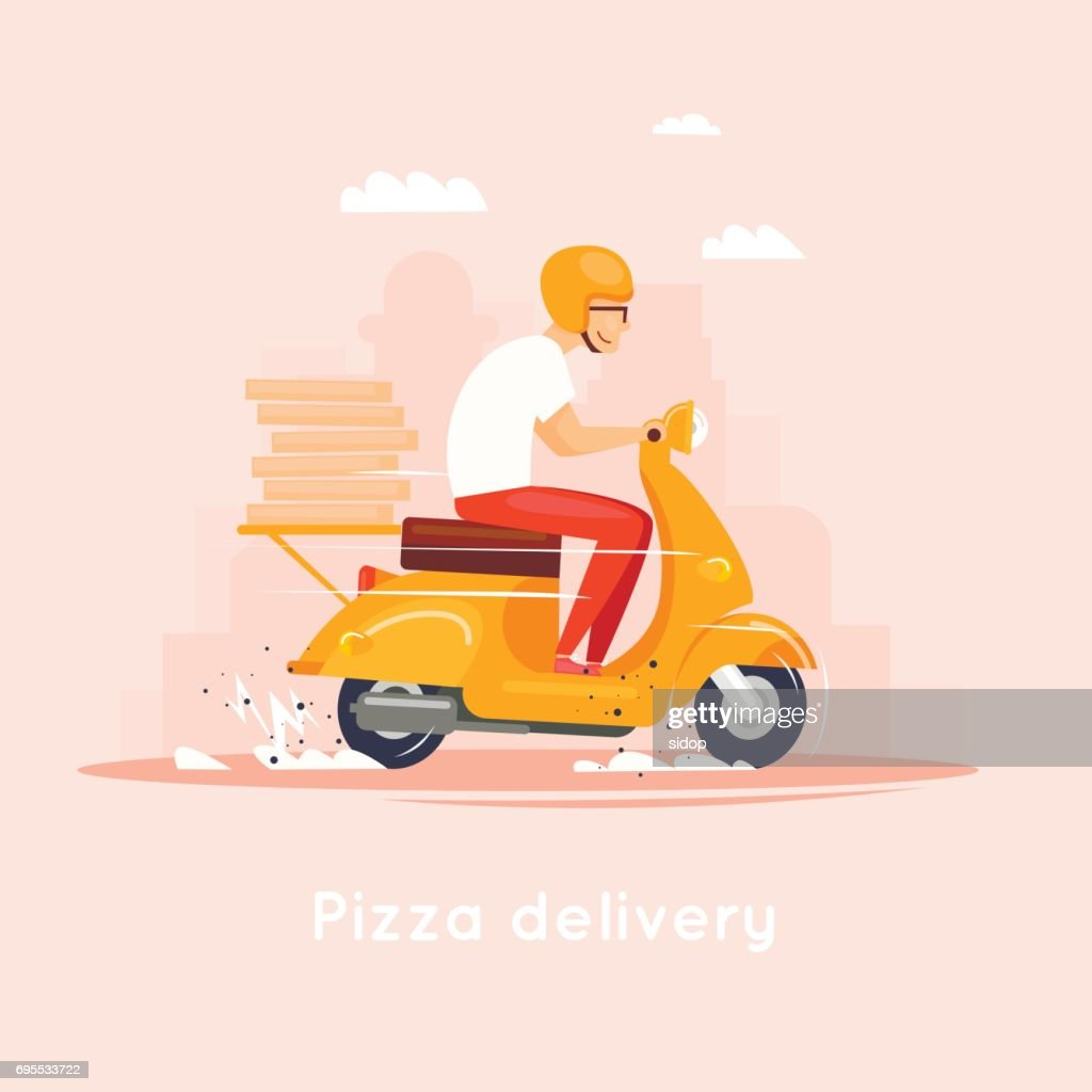 Delivery, the guy on the moped is carrying pizza. Characters. Flat design vector illustration.