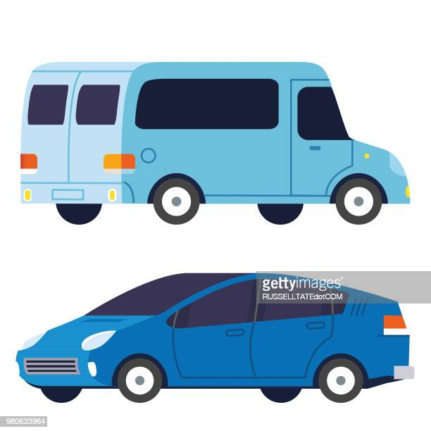 delivery truck and family sedan car - compact car stock illustrations, clip art, cartoons, & icons