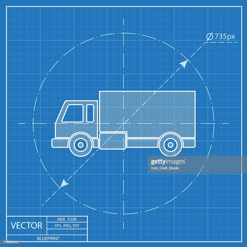 Delivery truck blueprint icon vector art getty images delivery truck blueprint icon vector art malvernweather Image collections