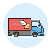 Delivery truck. Goods delivery car