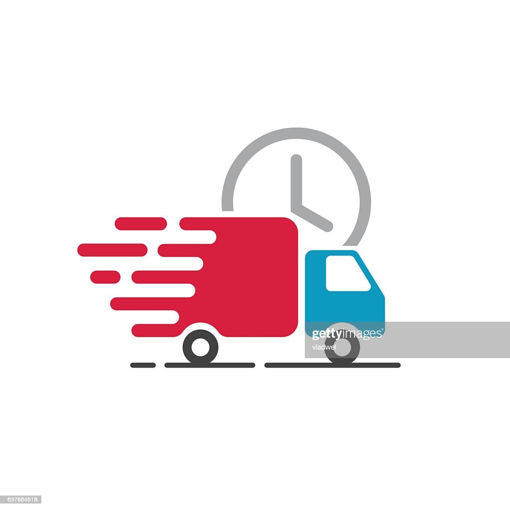Delivery truck icon vector, cargo van moving, fast shipping