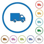 Delivery truck icons with shadows and outlines