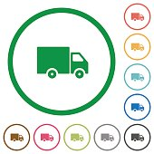 Delivery truck outlined flat icons
