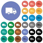 Delivery truck round flat multi colored icons