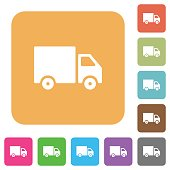 Delivery truck rounded square flat icons