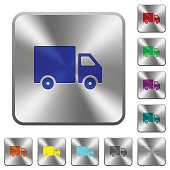 Delivery truck rounded square steel buttons