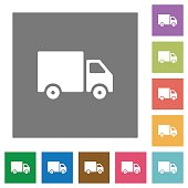 Delivery truck square flat icons
