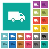 Delivery truck square flat multi colored icons