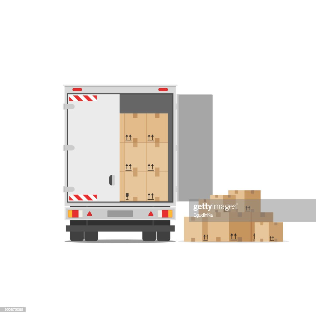 Delivery truck with a bunch of boxes