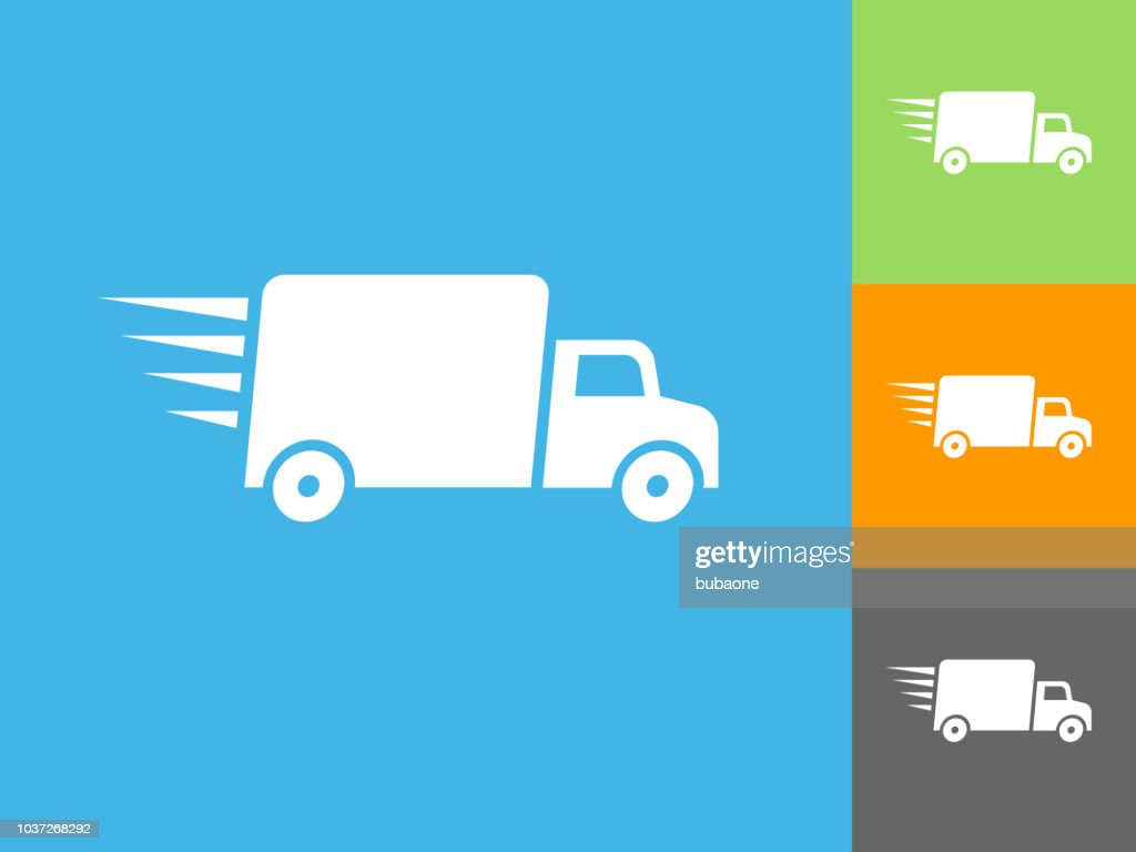 Delivery Trucks Flat Icon On Blue Background Stock