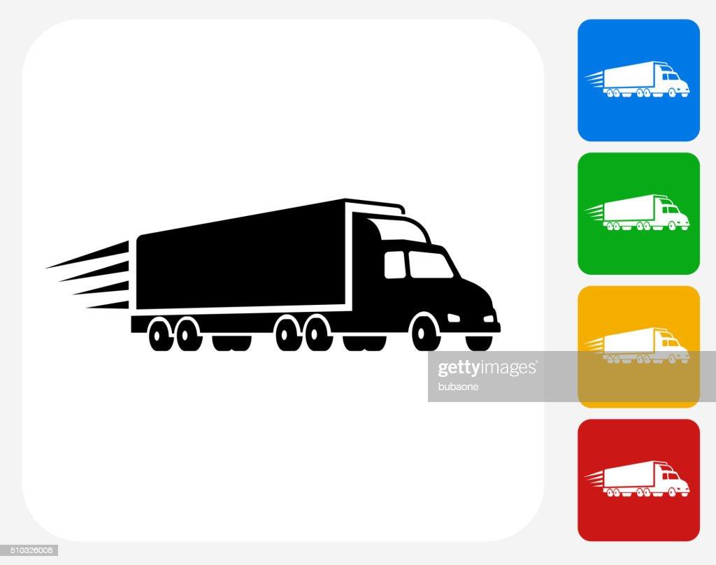 Delivery Trucks Icon Flat Graphic Design