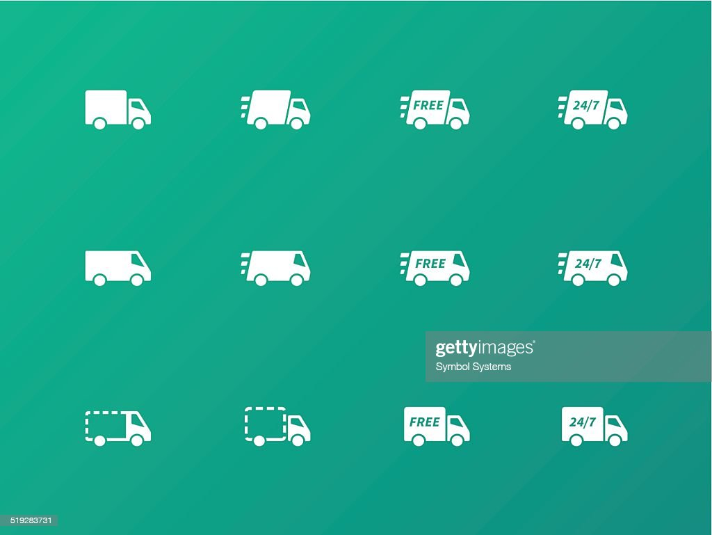 Delivery Trucks icons on green background.