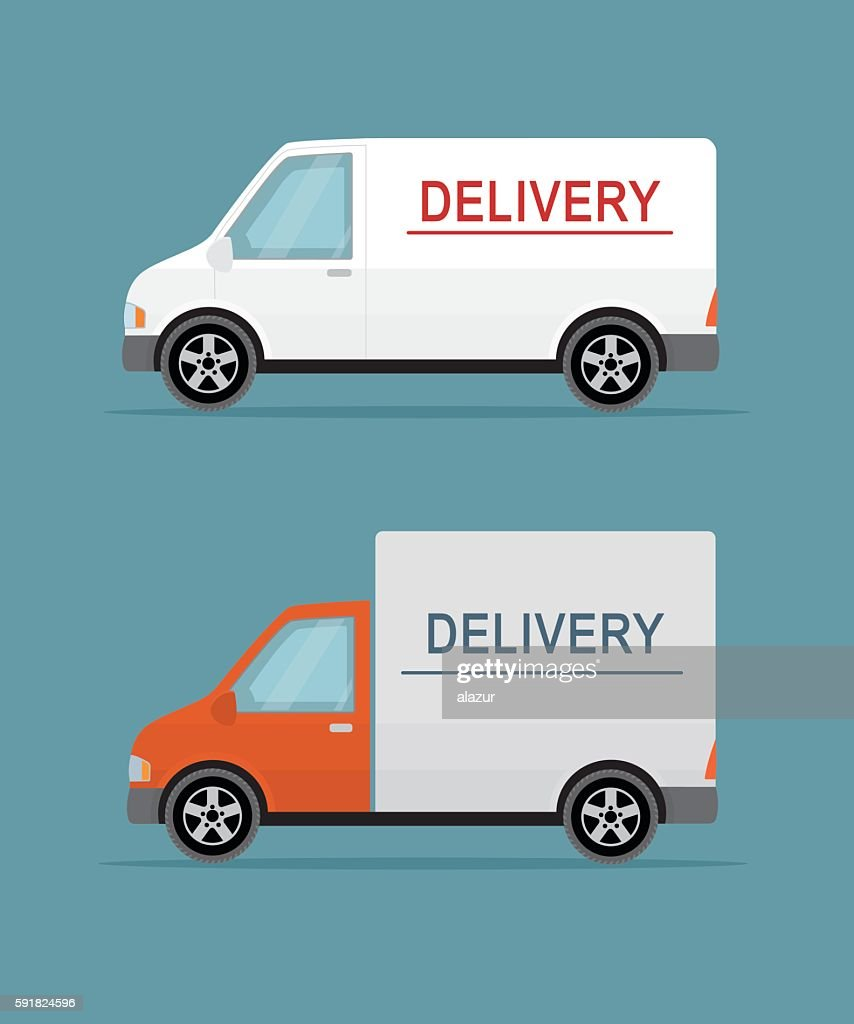 Delivery vans on the blue background.