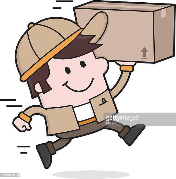 deliveryman ist ein package/versand-bewegung-service - wurf oder sprungdisziplin herren stock-grafiken, -clipart, -cartoons und -symbole
