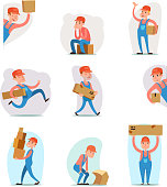 Deliveryman Cargo Freight Box Loading Delivery Shipment Loader Character Icon