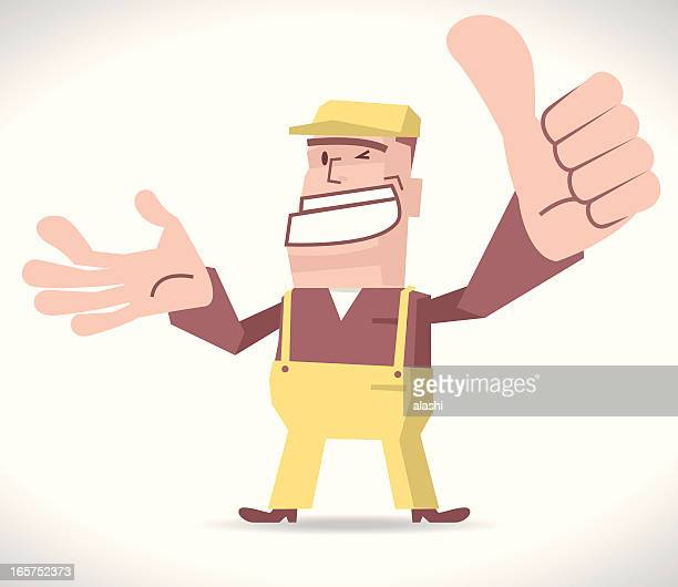 ilustrações, clipart, desenhos animados e ícones de deliveryman balançando um bastão polegares para cima - entregador