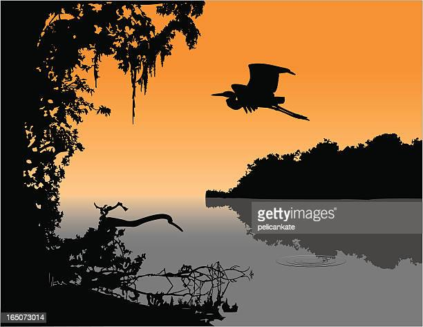 delta twilight - southern usa stock illustrations, clip art, cartoons, & icons