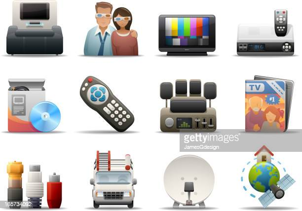deluxe icons - cable tv - cable stock illustrations, clip art, cartoons, & icons