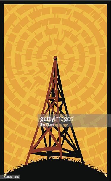 ilustraciones, imágenes clip art, dibujos animados e iconos de stock de radio con dosel de lujo - torres de telecomunicaciones