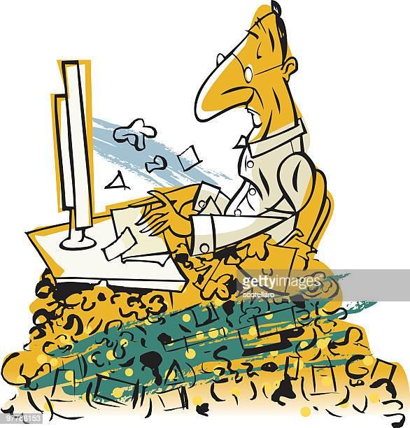 stockillustraties, clipart, cartoons en iconen met demasiado spam - oudere mannen