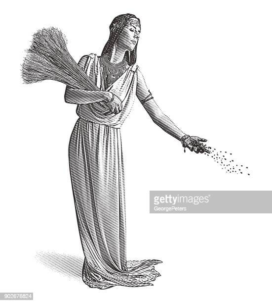 demeter, goddess of the harvest and fertility sowing seeds. - classical greek stock illustrations, clip art, cartoons, & icons
