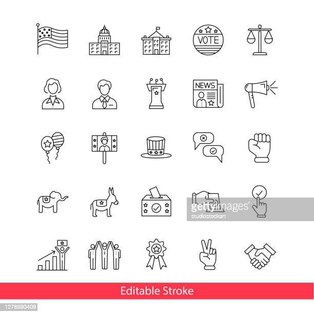 stockillustraties, clipart, cartoons en iconen met democratie en politieke vrijheid lijn pictogram reeks. bewerkbare lijn - politicus