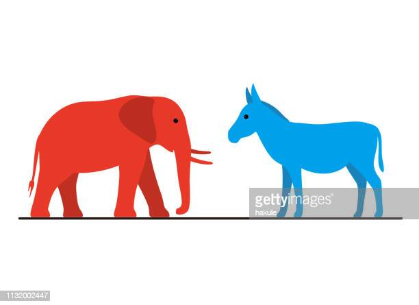 democrat donkey and republican elephant flat vector illustration - donkey stock illustrations