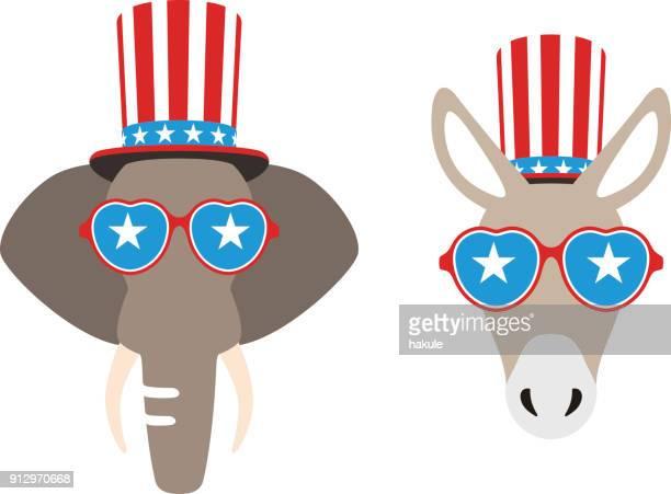 democrat donkey and republican elephant flat vector illustration - donkey stock illustrations, clip art, cartoons, & icons