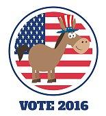 Democrat Donkey With USA Flag Label