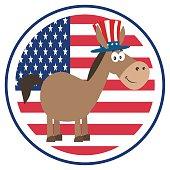 Democrat Donkey With USA Flag Logo