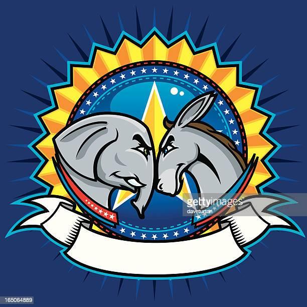 ilustrações, clipart, desenhos animados e ícones de democrática e republicanas símbolos - fighting stance