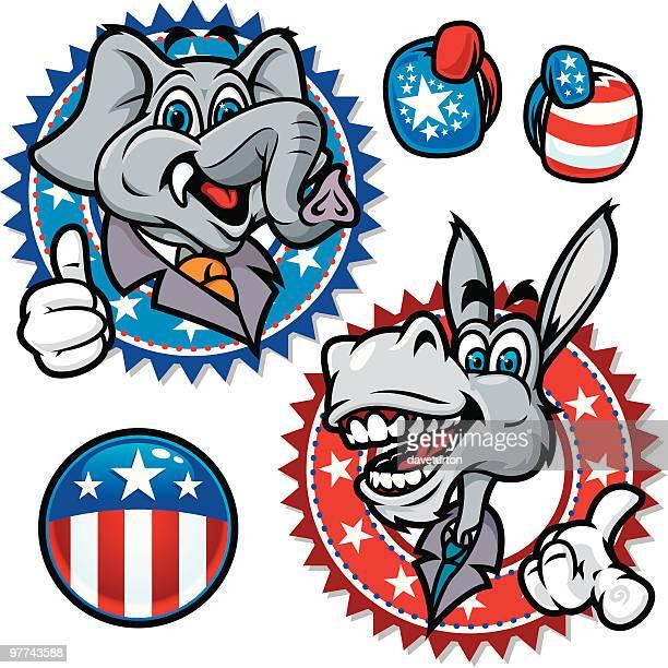 democratic and republican symbols - donkey stock illustrations, clip art, cartoons, & icons