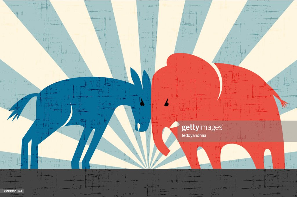 Democratic donkey and Republican elephant butting heads. Vector illustration.